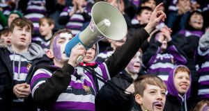 LOUD AND PROUD: Bank of Ireland Leinster Schools Junior Cup First Round, Donnybrook, Dublin: Terenure College fans make their presence felt in a match against Blackrock College RFC. Photograph: Ryan Byrne/Inpho