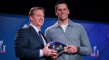 NFL Commissioner Roger Goodell awards New England Patriots quarterback Tom Brady the MVP trophy after his team won Super Bowl LI. Photo: Doug Mills/The New York Times