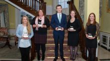 Horse World Award winners (l to r) Camilla Speirs, Anne Marie Pender, Bertram Allen, Judy Reynolds and Susie Berry with their awards. Photo: Irish Horse World