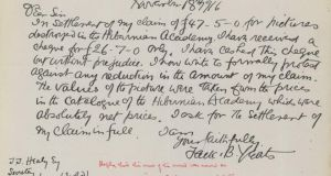 "Jack B Yeats  claimed £47.5s for three three oil paintings   but was awarded only £26.7s. The correspondence shows that Yeats contested the settlement and wrote to ""formally protest against any reduction in the amount"". The committee, however, rejected his complaint"