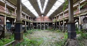 The interior of Iveagh Markets, which has been left vacant for a number of years. Photograph: Dara Mac Dónaill