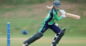 Kim Garth starred with both bat and ball in Ireland's 119-run win over Zimbabwe at the Women's World Cup qualifier in Sri Lanka. Photograph: Lorraine O'Sullivan/Inpho