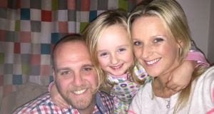 Sinead Hingston with her daughter Lily and her boyfriend Michael Green.