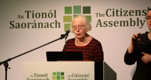 Citizens' Assembly chairwoman Ms Justice Mary Laffoy addresses a meeting in the Grand Hotel Malahide, Co Dublin. Photograph: Dara Mac Dónaill