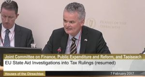 American Chamber of Commerce chief executive Mark Redmond at the Oireachtas Committee hearing on the Apple Tax ruling