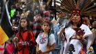 Native Americans lead demonstrators as they march to the Federal Building in protest against president Donald Trump's executive order fast-tracking the Keystone XL and Dakota Access oil pipelines, in Los Angeles, California. Photograph: Mark Ralston/AFP