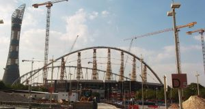 This file photo taken on November 13, 2014 shows the Khalifa Stadium in Doha which is undergoing complete renovation in preparation to host some of the matches for the 2022 World Cup in Qatar. High-spending World Cup 2022 host Qatar is splurging almost $500 million every week on major infrastructure projects for football's biggest tournament, the country finance minister said. Photo: Getty Images
