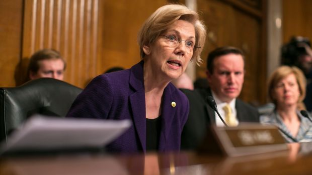 Senator Elizabeth Warren has been silenced by Republicans in the US Senate. Photograph: Al Drago/The New York Times