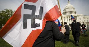Far-right extremists march  in Washington, DC in 2008. The threat of fascism has often been addressed in US cinema and literature. Photograph: David S Holloway/Getty Images