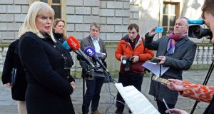 Minister for Jobs Mary Mitchell O'Connor   speaking on the HP announcement. Photograph: Eric Luke / The Irish Times