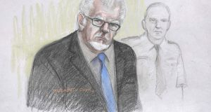 A court artist sketch  of Rolf Harris at Southwark Crown Court in London. The court has found Harris not guilty of three  alleged sexual assaults. Photograph: Elizabeth Cook/PA Wire