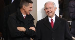 Controversial Alabama senator Jeff Sessions (right, with national security adviser Michael Flynn): nominee for attorney general. Photograph: Mark Wilson/Getty Images