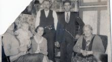 John Russell (4th from left) with his wife Lizzie Russell (nee Goulding) (far right)