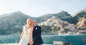 Sarah Ellis and Giulio Merolla had their wedding ceremony in Praiano on Italy's Amalfi Coast, where Giulio's family is from.  Photograph: Sandra Aberg