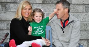 Niamh and Conor O'Shea of Cool Baby, with daughter Siobhán