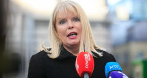 Minister for Jobs, Enterprise & Innovation Mary Mitchell O'Connor TD briefs the  press on job losses at HP on Wednesday.  Photograph: Gareth Chaney/Collins