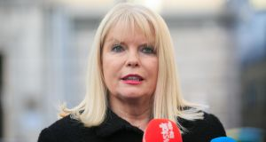Minister for Jobs, Enterprise and Innovation Mary Mitchell O'Connor speaks after the announcement of job losses at HP Inc in Leixlip, which echo  Dell's situation in Limerick in 2009.   Photograph: Gareth Chaney Collins