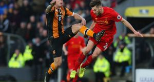 Adam Lallana in action for Liverpool during the costly defeat at Hull City. Photograph:  Nigel Roddis/Getty Images