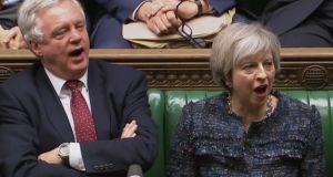 Brexit minister David Davis and British prime minister Theresa May in the House of Commons on Wednesday. Photograph: AFP/Getty Images