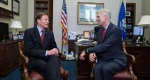 Democratic senator  Richard Blumenthal meeting US supreme court nominee Neil Gorsuch  on Capitol Hill on Wednesday. Photograph: Michael Reynolds/EPA