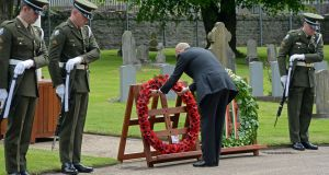 Then British ambassador to Ireland Dominick Chilcott lays a wreath, at the State event marking the deaths of British soldiers in the Easter Rising, at Grangegorman Military Cemetery, Dublin in May. Photograph: Eric Luke