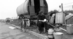John Ward, a Traveller making tinware near Galway, in 1971. Photograph: Pat Langan.