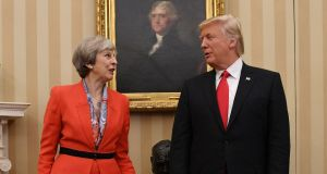 A file photograph of British  prime minister Theresa May meeting US president Donald Trump in the Oval Office of the White House. Photograph: Stefan Rousseau/PA Wire.