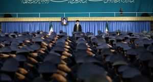 "Iran's supreme leader, Ayatollah Ali Khamenei, meeting with military commanders in Tehran. The ayatollah, in caustic comments to air force commanders, thanked US president Donald Trump for revealing ""the real face"" of the United States. Photograph: Office of the Iranian Supreme Leader via The New York Times"