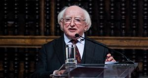 President Michael D Higgins speaks during a press conference at the Foreign Affairs Ministry in Lima, Peru  on Friday. Photograph: AFP