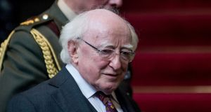 President Michael D Higgins arrives for a press conference at the Foreign Affairs Ministry in Lima, Peru  on Friday. Photograph: AFP