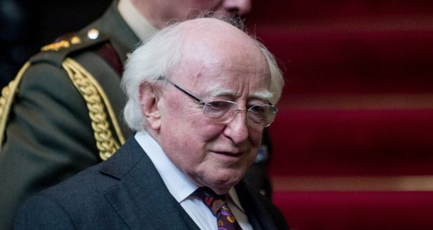 President Michael D Higgins arrives for a press conference at the Foreign Affairs Ministry in Lima The Irish Times