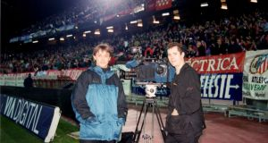 TG4 Ole Ole team, including Micheál Ó Domhnaill, covering Spanish football