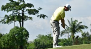 Bernd Wiesberger of Austria plays a shot during day two of the Maybank Championship in Kuala Lumpur. Photograph: Stuart Franklin/Getty Images