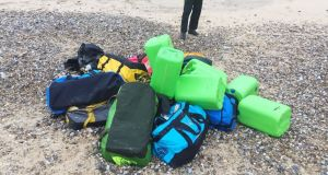 A number of holdalls were found at Hopton-on-Sea, and small packages were discovered at Caister-on-Sea. Photograph: UK  National Crime Agency /PA