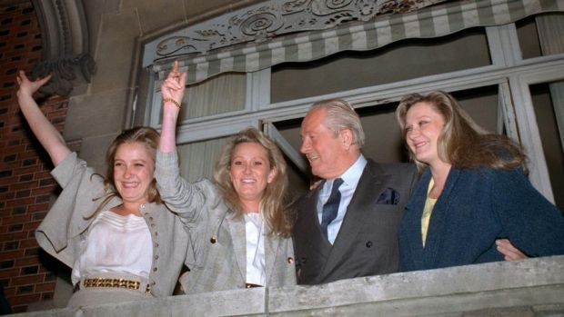 France's presidential race: Marine Le Pen (left) with her father, Jean-Marie, and sisters, Yann and Marie-Caroline, during his presidential run in 1988. Photograph: Pierre Guillaud/AFP/Getty