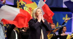 France's presidential race: Marine Le Pen at a Front National rally. Photograph: Sylvain Lefevre/Getty