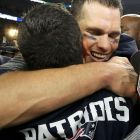 New England Patriots quarterback Tom Brady (back) celebrates with a teammate after defeating the Atlanta Falcons to win Super Bowl LI in Houston on Sunday. Photograph: Reuters/Adrees Latif