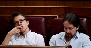 Íñigo Errejón and Pablo Iglesias. The two leaders of Podemos, formerly political soulmates, have had a very public falling out over party strategy. Photograph: Gerard Julien/AFP/Getty Images