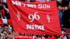 Liverpool fans hold banners in protest against the Sun newspaper prior to the FA Cup  semi-final against  Everton at Wembley  in April 2012. Photograph:  Mike Hewitt/Getty Images