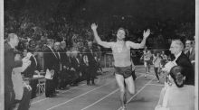 Eamonn Coghlan winning the Wanamaker Mile in New York in  1977. Photograph:  William N. Jacobellis/New York Post Archives /via Getty Images)