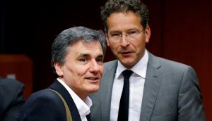Greek finance minister Euclid Tsakalotos and euro group president Jeroen Dijsselbloem at an extraordinary meeting of euro zone finance ministers in Brussels yesterday. Photograph: François Lenoir/Reuters