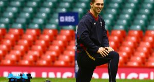 George North attends the Wales captain's run  at the Principality Stadium on Friday before retiring early. Photograph: Getty.
