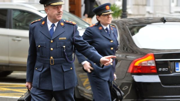 Martin Callinan and Nóirín O'Sullivan arriving in Leinster House in January 2014 to attend a sitting of the PAC. File photograph: David Sleator
