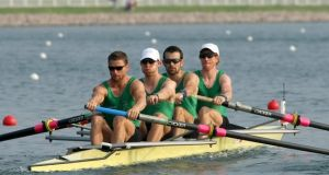 The Irish men's lightweight four at the 2008 Beijing Olympics - Paul Griffin (Stroke), Richard Archibald, Gearoid Towey and Cathal Moynihan (Bow). Photograph: Inpho/Morgan Treacy