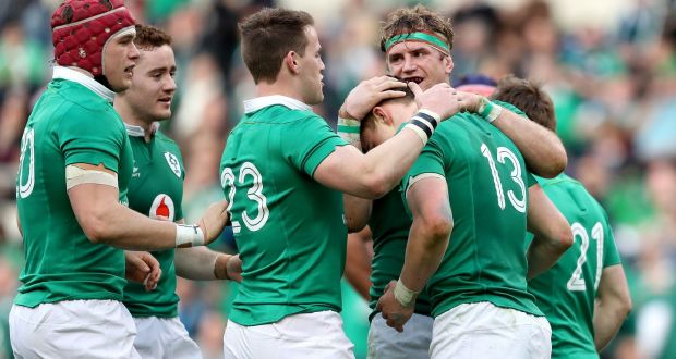Ireland s Garry Ringrose celebrates scoring their seventh try with  teammates in their Six Nations win over f4f051fb3