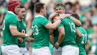 Ireland's Garry Ringrose celebrates scoring their seventh try with teammates in their Six Nations win over Italy in Rome. Photo: Dan Sheridan/Inpho