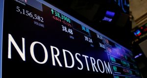 Trading information for fashion retailer Nordstrom  on a screen  on the floor of the New York Stock Exchange  in New York City. File photograph: Brendan McDermid/Reuters