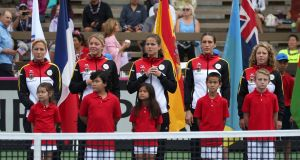 The German team is introduced to the crowd during the opening ceremony of the Fed Cup match against the United States  in  Maui, Hawaii. Photograph:   Bruce Ormori/EPA