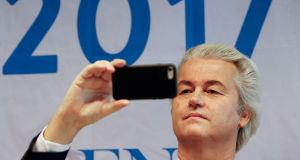Party of Freedom  leader Geert Wilders  in Koblenz, Germany, last month. File photograph: Wolfgang Rattay/Reuters