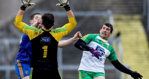 Donegal and Roscommon was a lively first game for the new Dr Hyde Park playing surface. Photograph: Inpho